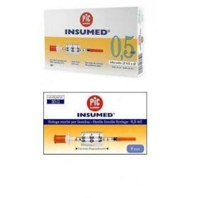 Siringa Per Insulina Pic Insumed 0,5 ml 100 UI Ago Gauge 30 Lunghezza 8 Mm Senza Spazio Morto 3 Sacchetti Da 10 Pezzi